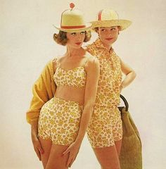 Two-piece garment swimsuit and playsuit in 1960s. Bathing suit in this decade known as colorful and combine between one piece and two pieces and bikini. The special thing is you can wear a bathing suit and make it seem like you are wearing a romper or shorts.