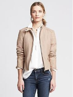 Quilted Blush Leather Moto Jacket--love the look; don't love the price