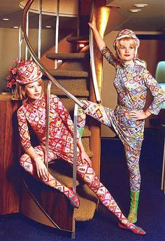 Braniff Stewardess Uniforms by Emilio Pucci. I could recreate in Photoshop with the pattern by using the marque tool to crop out the section, clicked on 'Edit' then 'define pattern' then I opened a new page and used the paint bucket tool and chose my pattern then used the magic wand to select my section to put my pattern in. Eventually I could achieve an all over affect.