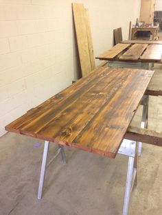 Elegant Churchill Downs Pine Wood Table Reclaimed Wood
