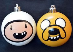 DIY Adventure Time Jake and Finn Christmas Ornament Set - Holiday Decoration might hav to make for nick Christmas Ornament Sets, Diy Christmas Ornaments, Christmas Projects, Christmas Crafts, Homemade Christmas, Christmas Decorations, Office Christmas, Christmas Holidays, Christmas Tree