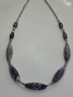 Artisan Handcrafted Amethyst Baguette Beaded Necklace with Natural Stone chain 21 inch