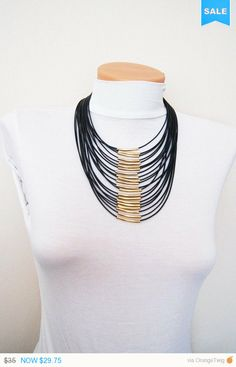 FREE SHIPPING / NECKLACE Multi strand  black by ArtofAccessory