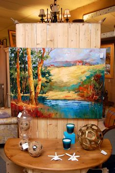 View From The Lake Oil Painting   Signed By Walker. @ Hunt U0026 Gather ~