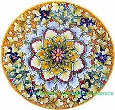 Ceramic Majolica Plate FDL Pink Blue Orange 739 20cm