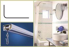 "Trax L Shaped Ceiling Shower Rod   $100. 60"" X 32"" with 90° corner fits left or right standard bathtub Guest Bathrooms, Bathroom Shower Curtains, Bathroom Ideas, Shower Ideas, Shower Rods, Shower Tub, Curtain Track System, Bath Tub, L Shape"