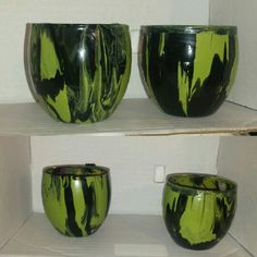 Green and black set of 2 candle holders