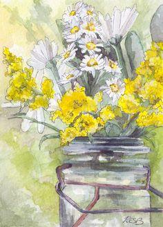 Goldenrods. Aquarela. Rachel Byler (Hershey, PA, USA, 18/01/? - ).    https://www.etsy.com/listing/169285937/flower-painting-print-from-original?ref=shop_home_active_15