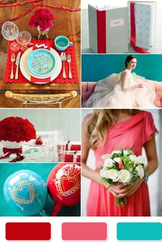 red and teal wedding - love this color trio!  It works.