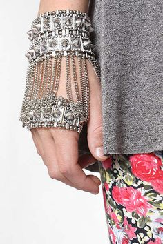 Shackled Statement Jewelry : 'Bleudame' Spike and Chain Hand Bracelet