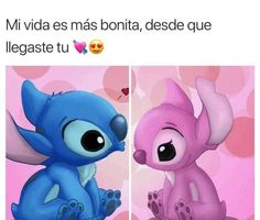 Angel and Stitch by Stitch And Angel, Lilo And Stitch, Amor Quotes, Love Quotes, Ex Amor, Quotes En Espanol, Love Phrases, Cute Disney Wallpaper, Love Images