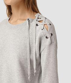 Womens Revo Lace Jumper (Light Grey) - product_image_alt_text_2