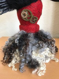 Handmade Sculpture Made Quirky Gifts, Gothic Steampunk, Soft Sculpture, Needle Felting, Raven, Art Decor, Crochet Necklace, Feather, Ornament