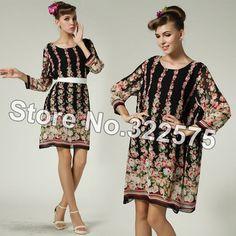 frete grátis mãe flor vintage chiffon impressão solta grande casual praia mulheres vestidos plus size praia sdl130 roupas de rua