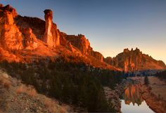 Sunset photo of Monkey Face and Asterisk Pass in Smith Rock State Park. One of several Smith Rock stock photos of that is available on our Pacific Crest Stock photography site.