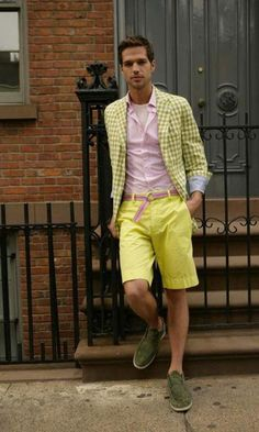 (to model) Sir, I revoke any card designating manliness you have...unless those are the slip on boat shoe crocks. I hear they're comfy. Just...take the pink belt off. And the blazer. And...eat something...