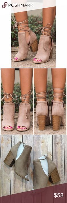 "Taupe Side Cut Out Lace Up Booties Suede Taupe Side Cut Out Lace Up Booties. Trendy and stylish with a 3"" chunky heel Fabfindz Shoes Ankle Boots & Booties"