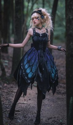 The Butterfly of the Night Gothic Lolita Corset JSK (Normal Waist Version),Lolita Dresses, Pretty Outfits, Pretty Dresses, Beautiful Dresses, Cute Outfits, Emo Outfits, Style Lolita, Fantasy Gowns, Fantasy Clothes, Fairy Clothes
