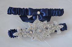 Navy Blue Garters, Wedding Garter Set, Toss Garter, Keepsake Garter, Bridal Garter Set, Navy Garters, Heirloom Garter Set, Satin Garter Set