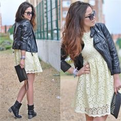 I will be wearing a lace dress with a leather jacket this fall!:)