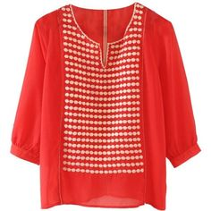 Collective concepts blouse Orange, colorful and loose fitting sheer blouse with embroidered dots. Great dressed up for work or dressed down with ripped jeans. Worn once. Collective Concepts Tops Blouses