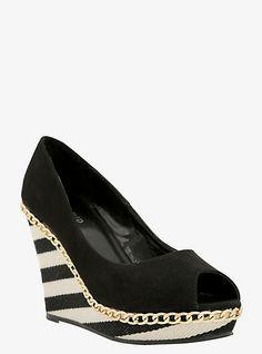 Chain Trim Striped Wedge Peep-Toe Shoes (Wide Width)   Torrid