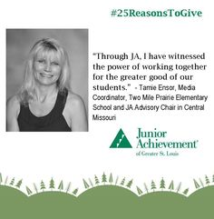 Reason #16: #JA brings business professionals and educators together to show #kids how to make smart choices for their #future.   #25ReasonsToGive #education