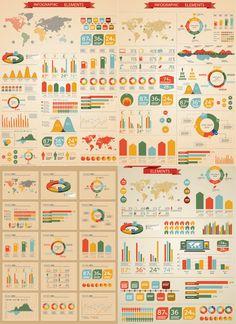 Retro infographic elements vector 800×1,100 pixels  http://vectorgraphicsblog.com/free-vector-graphics/retro-infographic-elements-vector/
