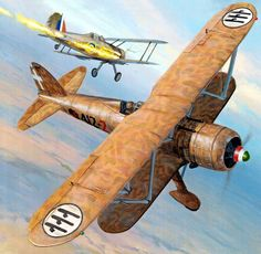 Fiat CR42 downing a Gloster Gladiator