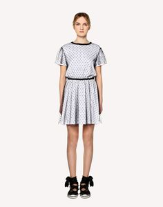8273701ec1cb17 REDValentino Jersey Dress With Point D'esprit Tulle - Short Dress for Women  | REDValentino E-Store