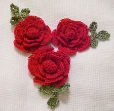 red roses  crocheted  appliques by Aeshagirl