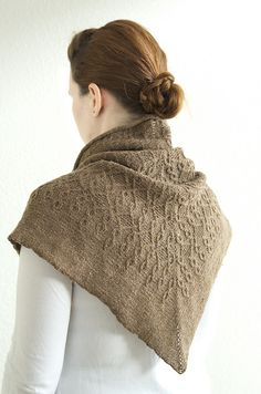Ravelry: Milk Jam pattern by Anna Sudo - This is why triangular shawls aren't my favorite. They keep the back of your neck warm, though. Actually, this pretty shawl looks like it would keep you toasty all over.