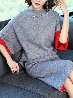 Sheath Elegant Bateau/boat neck Batwing Top With Skirt Knit Set Jumpsuit Damen Elegant, Mantel Elegant, Conservative Fashion, Office Dresses, Bat Wings, Batwing Top, Pretty Outfits, Salwar Designs, Linen Shirt Dress