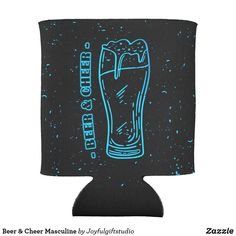 Beer & Cheer Masculine Can Cooler Beer Cooler, Party Accessories, Hand Warmers, Drink Sleeves, 3 D, Chill, Canning, Blue, Decor