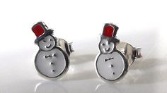 Small, x silver stud earrings with a jolly snowman design Christmas Jewelry, Snowmen, Studs, Cufflinks, Enamel, Stud Earrings, Jewellery, Silver, Accessories