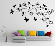 Abstract Dark Tree Butterfly Wall Stickers Decals Art for for Small Modern Living Room Wall Painting Ideas