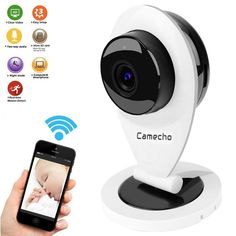Camecho 2.4ghz Smart Ip Camera 720P HD Video Night Vision / 2 Way Audio Recording Streamed - Surveillance Home Security Monitor / Nanny Cam / Pet Cam