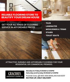 Welcome To Gracious - one of the best, attractive, durable affordable for your residential or commercial premises. But Due to the Situation, our showroom will remain closed. We are taking phone orders only. No Pick Up, Only Delivery. Flooring Store, Laminate Flooring, Hardwood Floors, Washroom Tiles, The Tile Shop, Moldings And Trim, House Tiles, Baseboards, Floor Design
