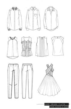 Fashion Portfolio - hand-drawn fashion design flats; technical fashion drawings // Emma Dobson