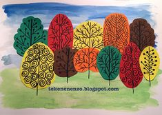 You need: white drawing sheet size liquid water color paint brush construction paper in several colors scissors and glue black f. Tree Collage, Tree Art, Collage Art, Pop Art Artists, Artists For Kids, Fall Tree Painting, Class Art Projects, 2nd Grade Art, Second Grade
