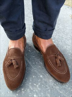 Brown Suede Tassel Loafers, Men's Spring Summer Fashion.