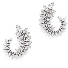 Rental Dannijo Arabella Earrings ($55) ❤ liked on Polyvore featuring jewelry, earrings, silver, swarovski crystal earrings, oxidized jewelry, statement earrings, long earrings and swarovski crystal jewelry