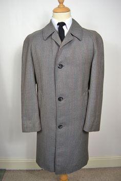 VINTAGE 1960's GRANTHAM NAVY BLUE ENGLISH WOOL RAINCOAT TRENCH ...