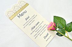 Punched wedding menu with ribbon satin by JasmineWeddingPrints