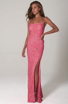 Scala 60100 Coral Beaded Open Lace Up Back Sequin Beaded Prom Dress Stunning Prom Dresses, Senior Prom Dresses, Homecoming Dresses Long, Fitted Prom Dresses, Sequin Prom Dresses, Pretty Prom Dresses, Prom Outfits, Ball Dresses, Long Sparkly Dresses