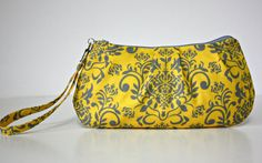 Gray and Yellow Damask Zip and Go Wristlet by SweetPeaTotes, $27.00
