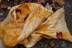 hand dyed silk scarf to wear - men & women - COPPER ORANGE