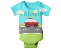 Personalized Baby Bodysuit, Little Red Car, Boy's Custom One Piece Clothing, Onepiece