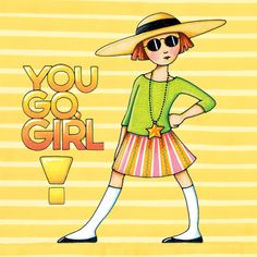 You Go Girl by Mary Engelbreit -- a cover for electronic devices by DecalGirl Mary Engelbreit, You Go Girl, My Girl, Jessie Willcox Smith, Mellow Yellow, Humor, Rock, Childrens Books, Illustrators