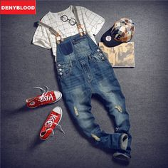 (38.47$)  Watch more here  - Men's Jeans Slim Straight Jeans Mens Jeans With SuspenPants Male Slim Denim Distressed Jeans Ripped Bib Overalls for Mens 260